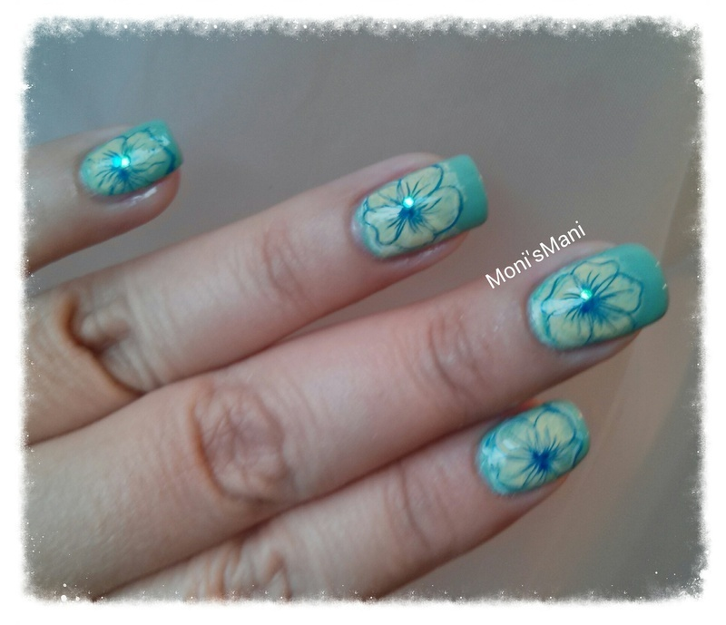 Hawaiian inspired Mani details nail art by Moni'sMani