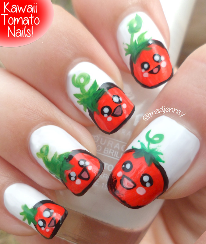 Kawaii Tomato Nail Art ◕‿◕ かわいい!  nail art by madjennsy Nail Art
