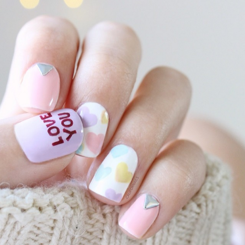 Love you, Sweetheart. nail art by Jasmine (Californails)