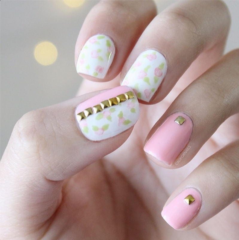 Studded Florals nail art by Jasmine (Californails)