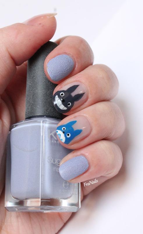 Totoro Nails nail art by Fran Nails