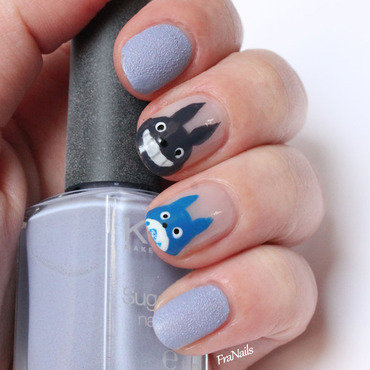 Totoro Nails nail art by Fran Nails