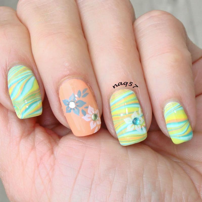 Pastel Watermarble nail art by Nora (naq57)