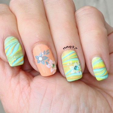 Pastel Watermarble nail art by Nora (naq57)