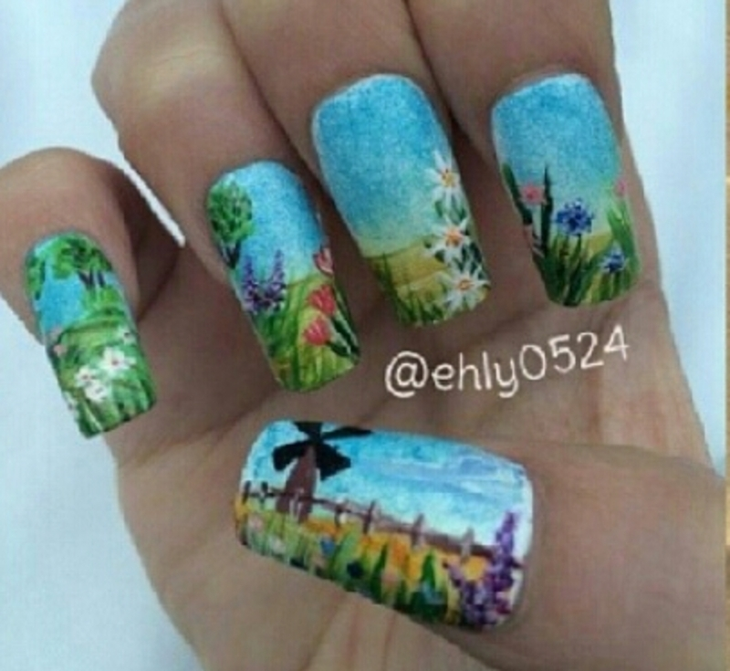 windmill on flower farm nail art by ehly0524