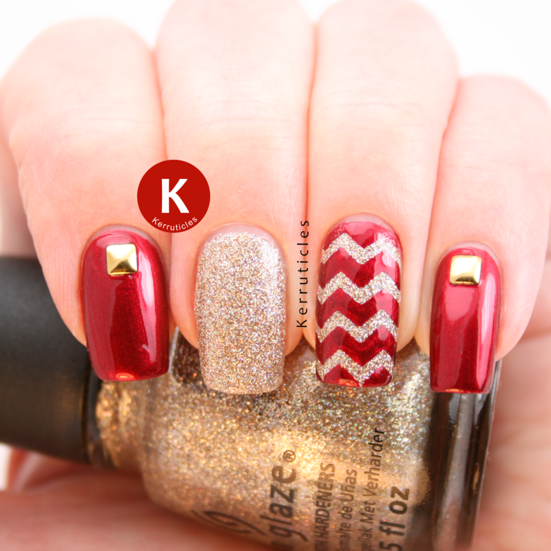 Red and gold skittlette nail art by Claire Kerr