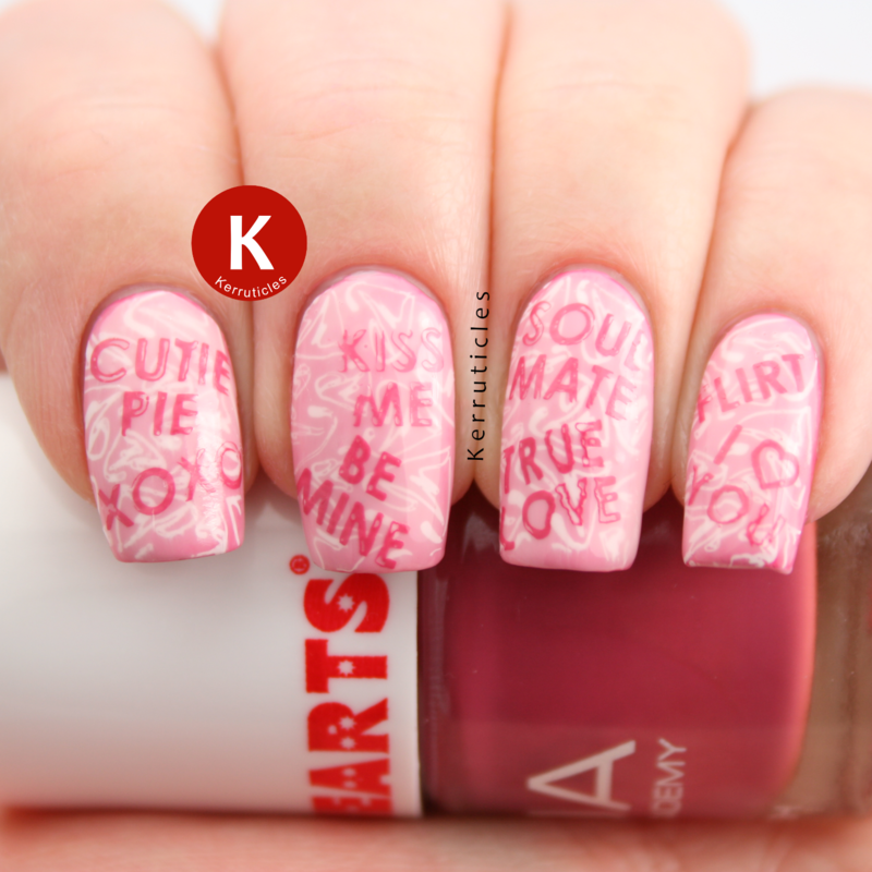 Candy heart sayings nail art by Claire Kerr