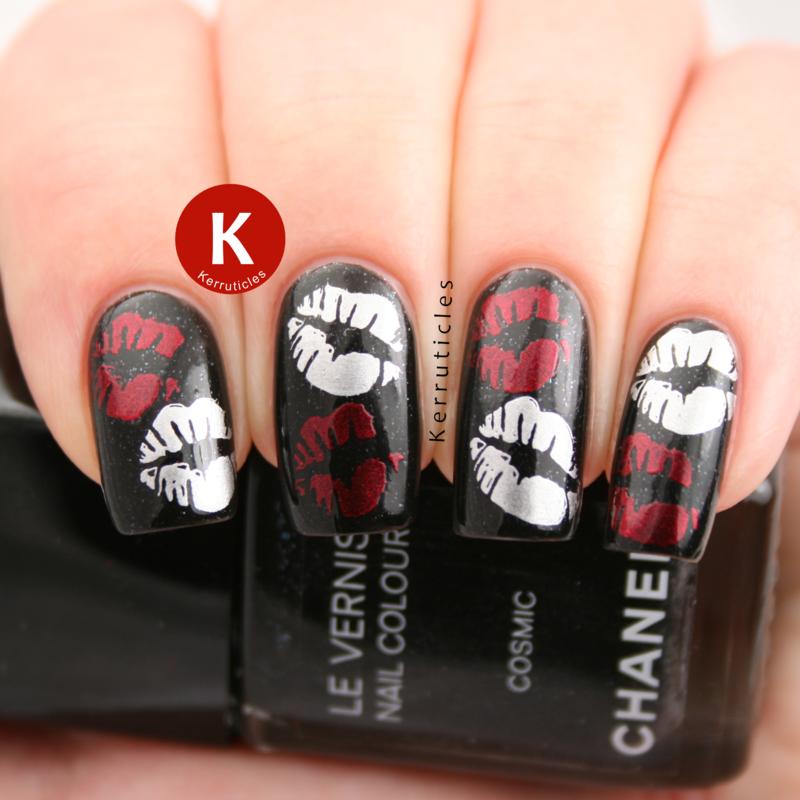 Red and silver stamped kisses nail art by Claire Kerr