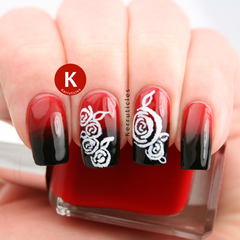 Black And Red Gradients With Hand Painted Roses Nail Art By Claire