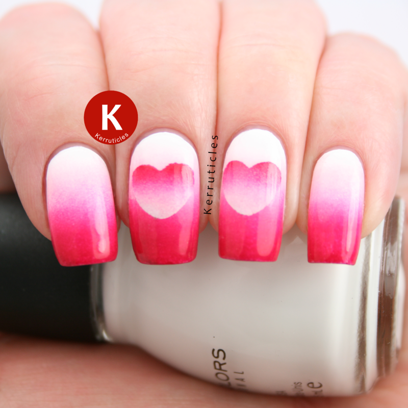 Pink and white reverse gradient hearts nail art by Claire Kerr