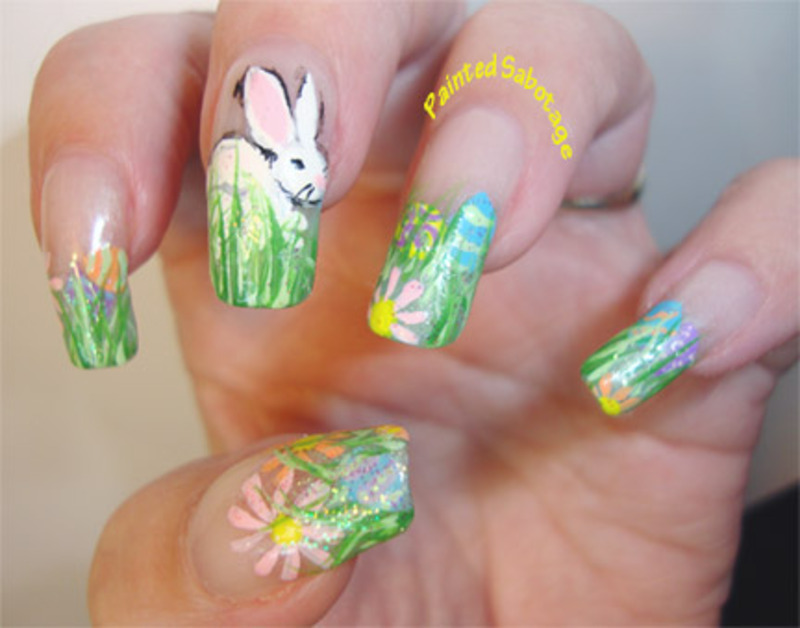 Bunny in grass nail art by paintedsabotage