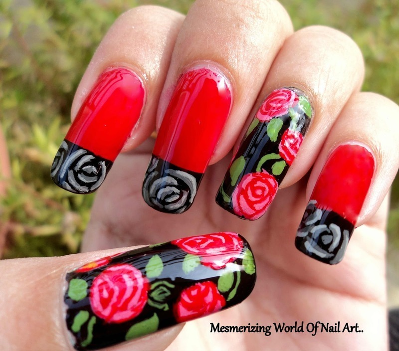 Rose Nail Art nail art by Anubhooti Khanna