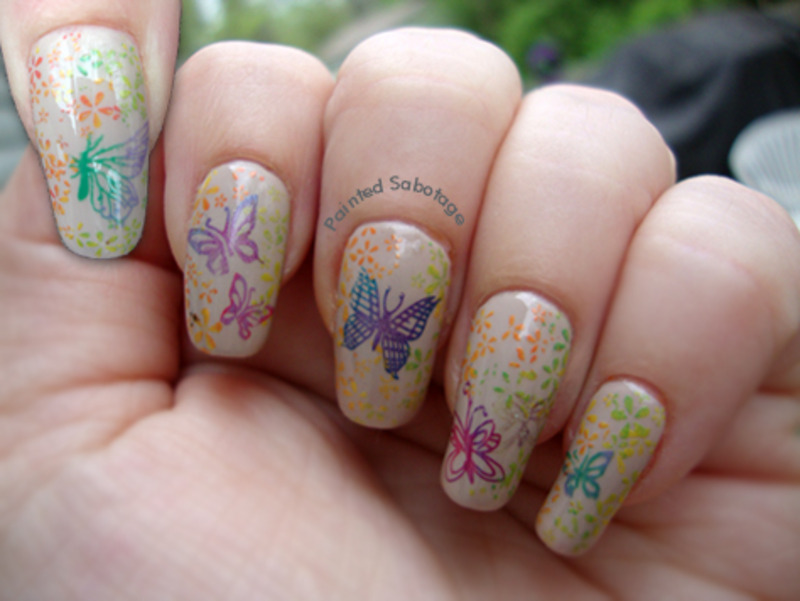 Spring Butterflies nail art by paintedsabotage