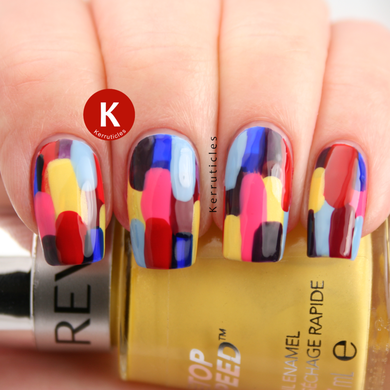 Abstract Revlon Multi-Coloured nail art by Claire Kerr