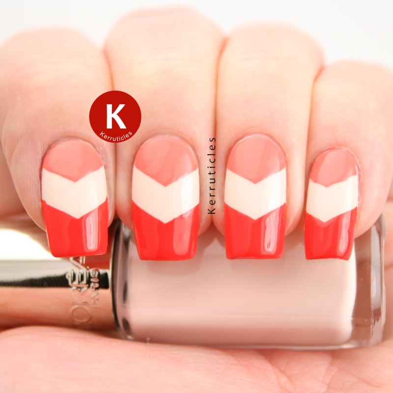 Pink, peach and orange chevrons nail art by Claire Kerr