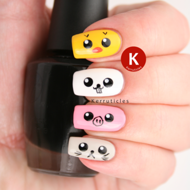 Japanese Kawaii animals nail art by Claire Kerr