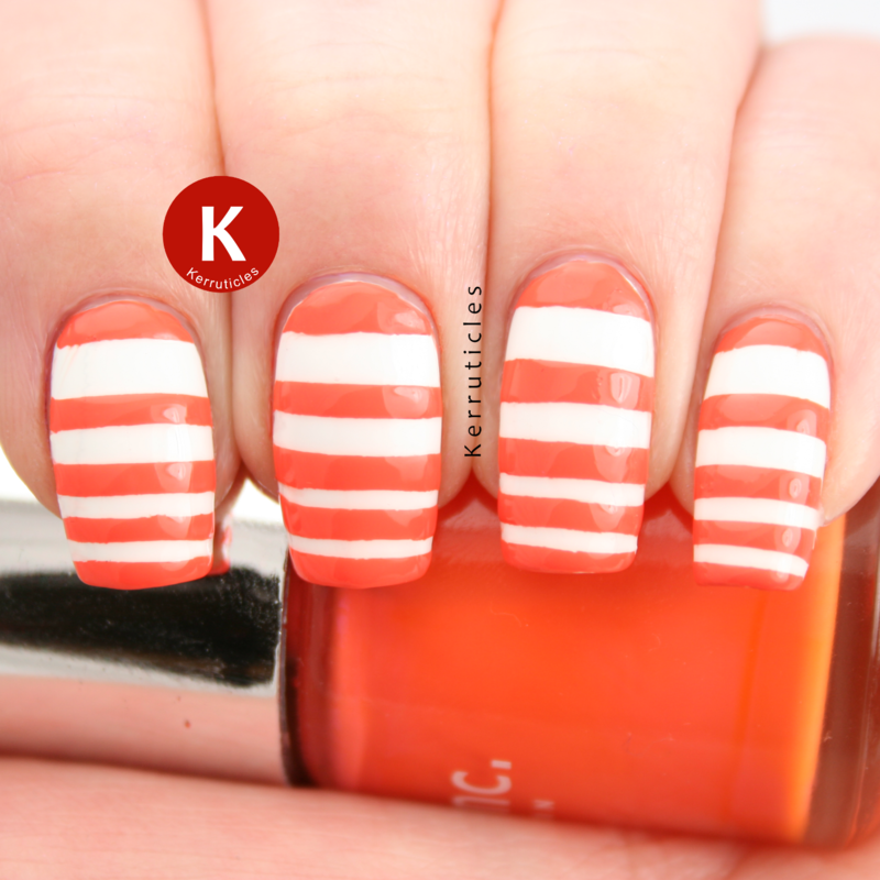 Orange and white graduated stripes nail art by Claire Kerr