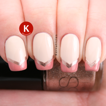 Cream, peach and gold cheron French tips nail art by Claire Kerr