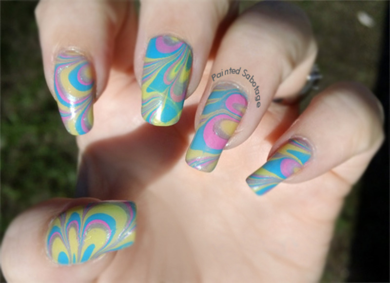 Spring Water Marble Left Hand nail art by paintedsabotage
