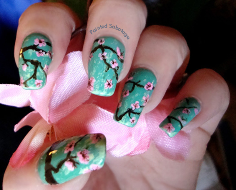 Cherry Blossoms nail art by paintedsabotage