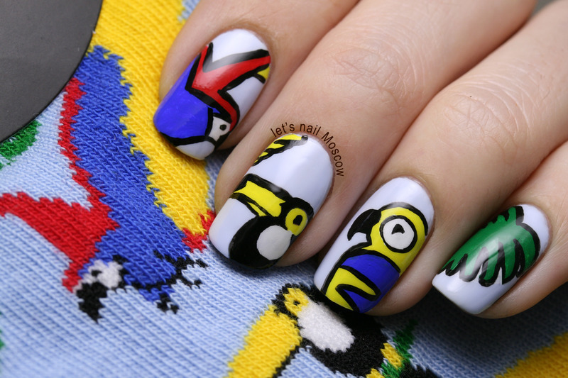 Topshop tropical birds print inspired nails  nail art by Let's Nail Moscow