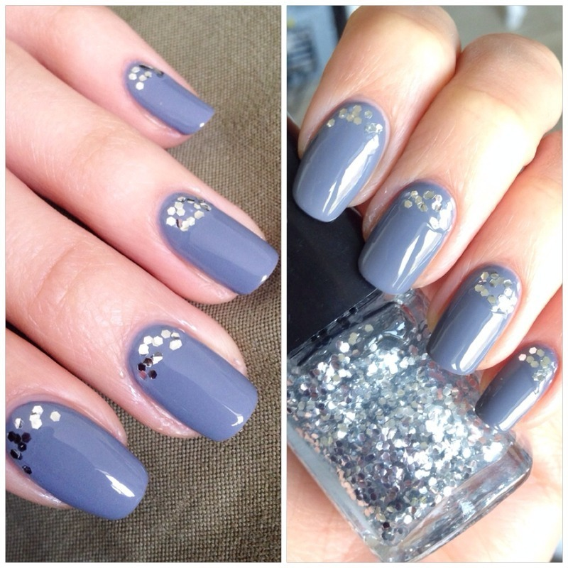 Glittery grey nail art by Anne