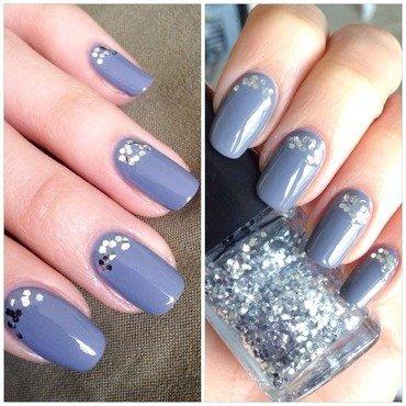 Glittery grey nail art by Anne
