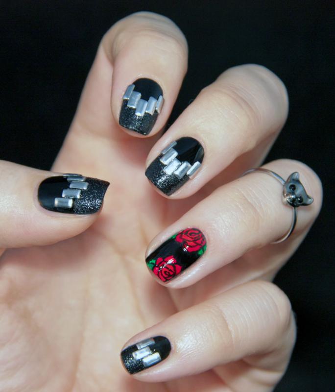 Rock'n'Roll nails nail art by Chasing Shadows