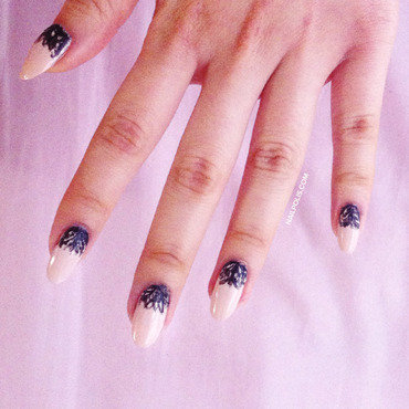 Black lace tip nails thumb370f