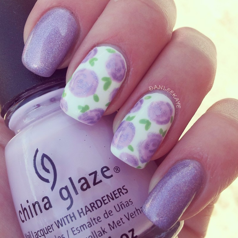 Holographic purple rose nail art nail art by Danlee