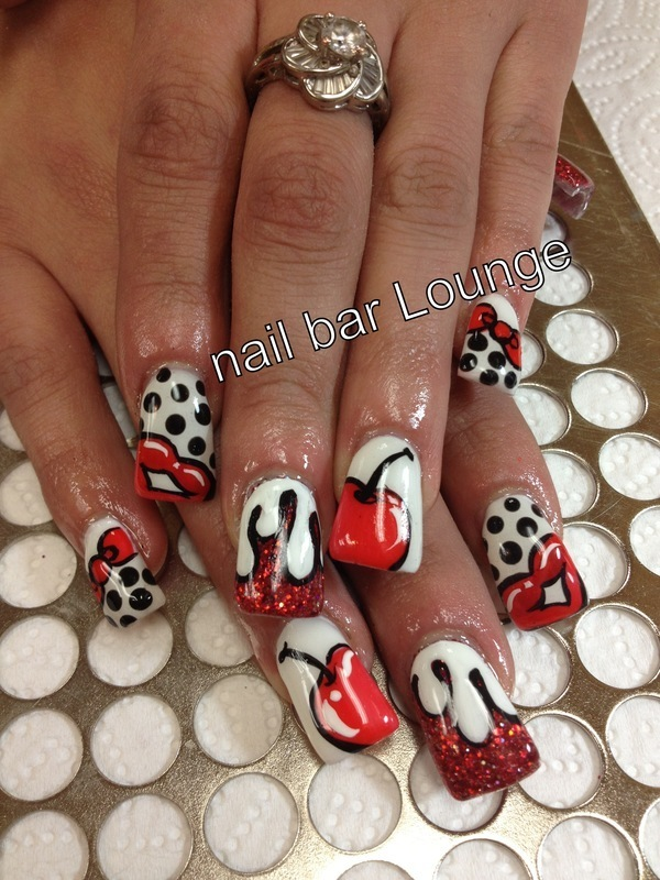 Cherry Kisses Nail Art By Victoria Zegarelli Nail Bar Lounge