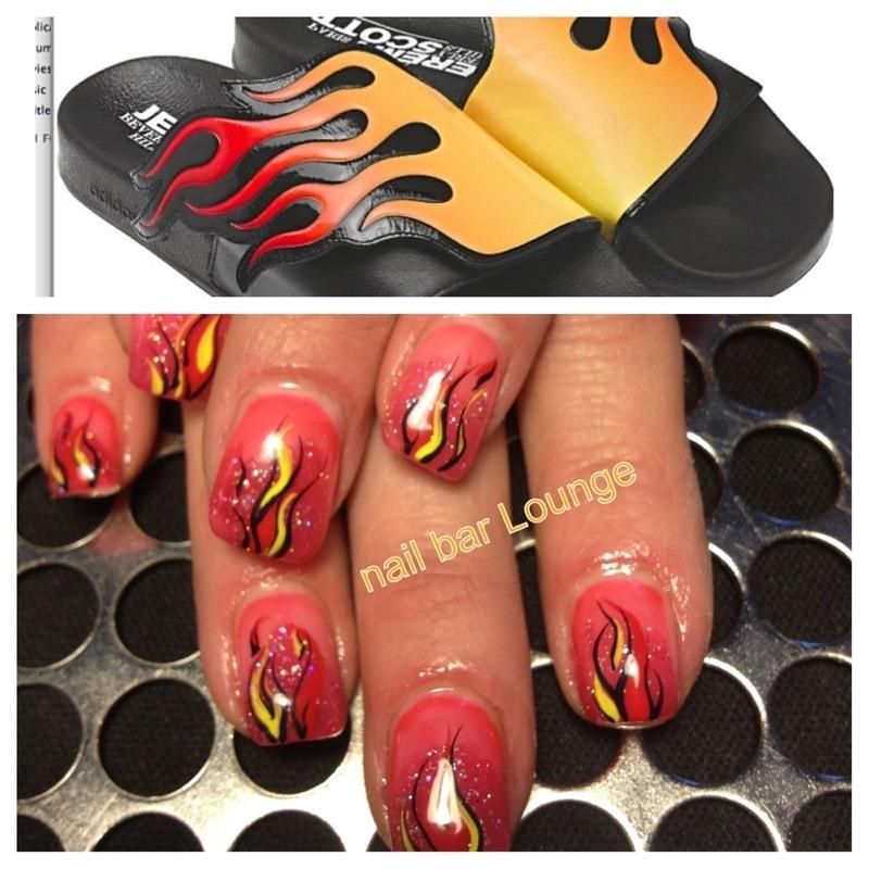 Flame Slides nail art by Victoria Zegarelli nail bar Lounge