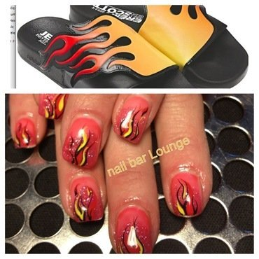 Flame Slides nail art by Victoria Zegarelli nail bar Lounge