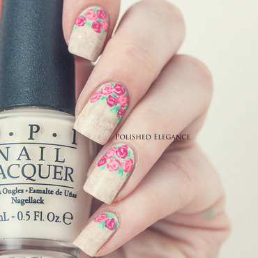 Spring roses nail art by Lisa