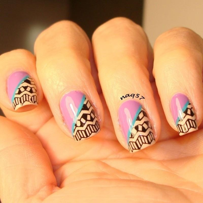 Aztec Color block nail art by Nora (naq57)