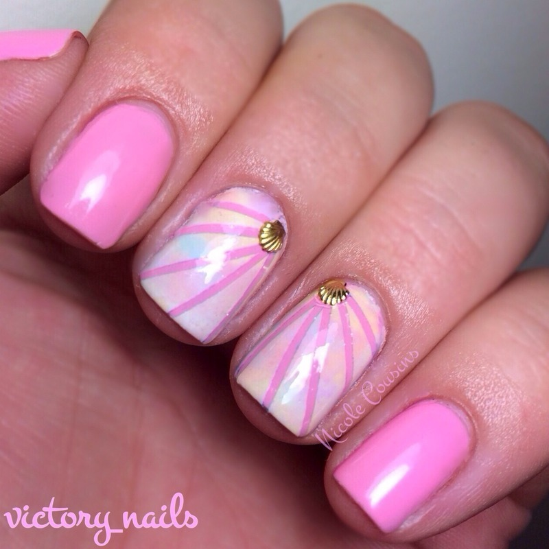 Pastel shell accents nail art by Nicole