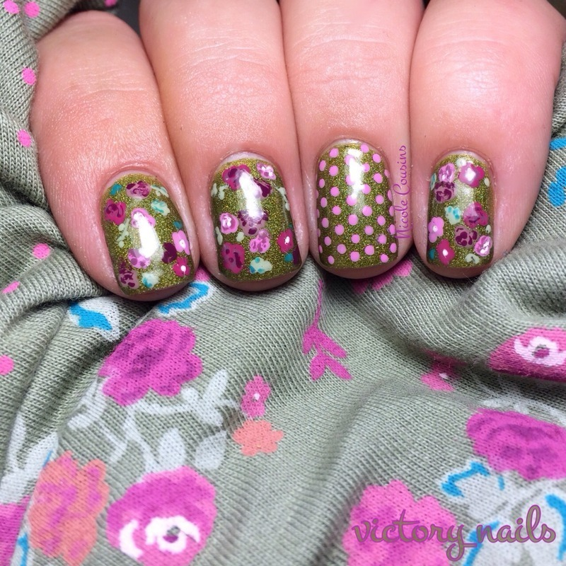 Clothing inspired FLORAL nail art by Nicole
