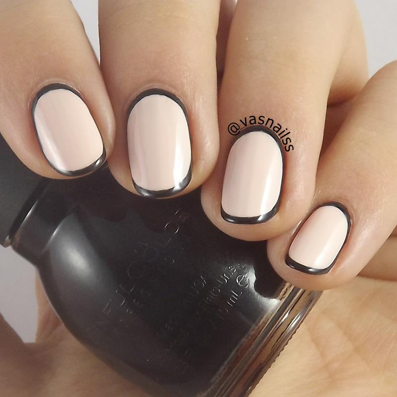 Border nail art by  Vanesa