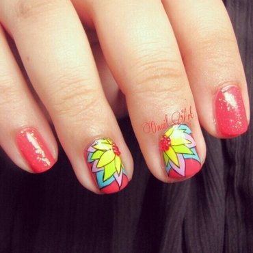 Multicolor flower nails nail art by OnailArt