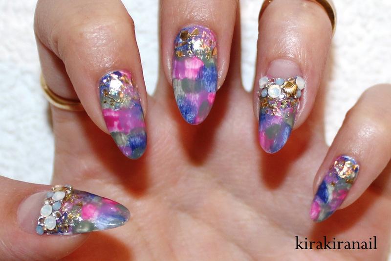 Washed Out Nails nail art by Kira Kira