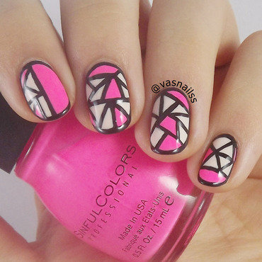 Neon Cut Out nail art by  Vanesa