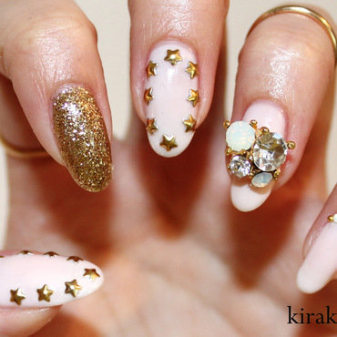 Stars & Glam nail art by Kira Kira