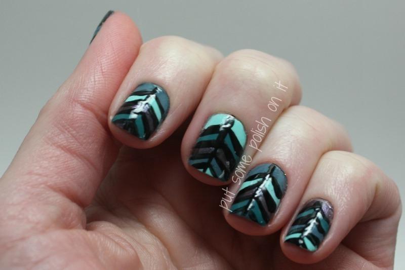 pshiiit inspired chevron  nail art by Crystal