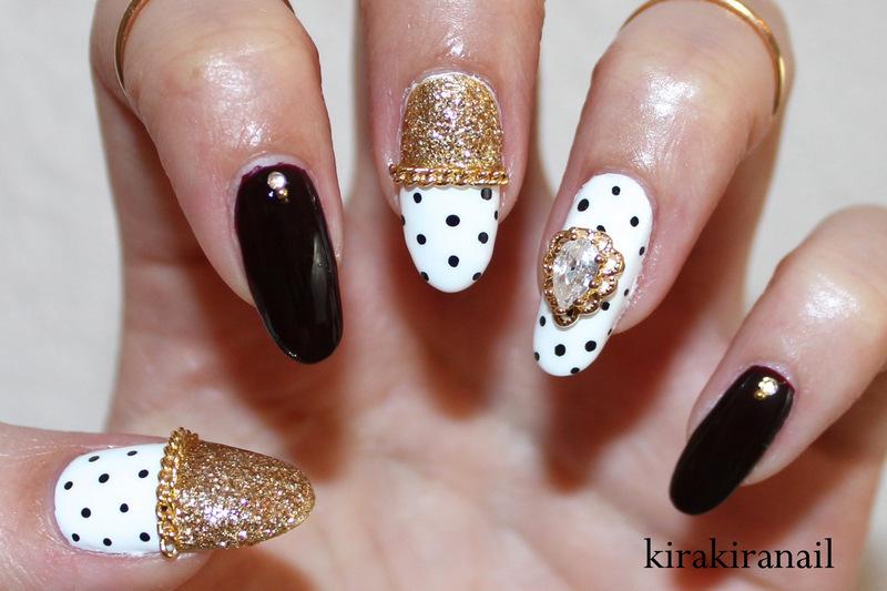 Oxblood & Polka Dots nail art by Kira Kira