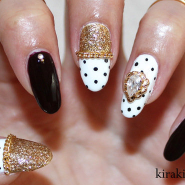 Oxblood & Polka Dots nail art by Kira Kira