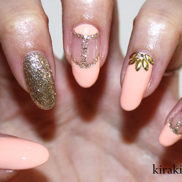 Studded Flowers nail art by Kira Kira