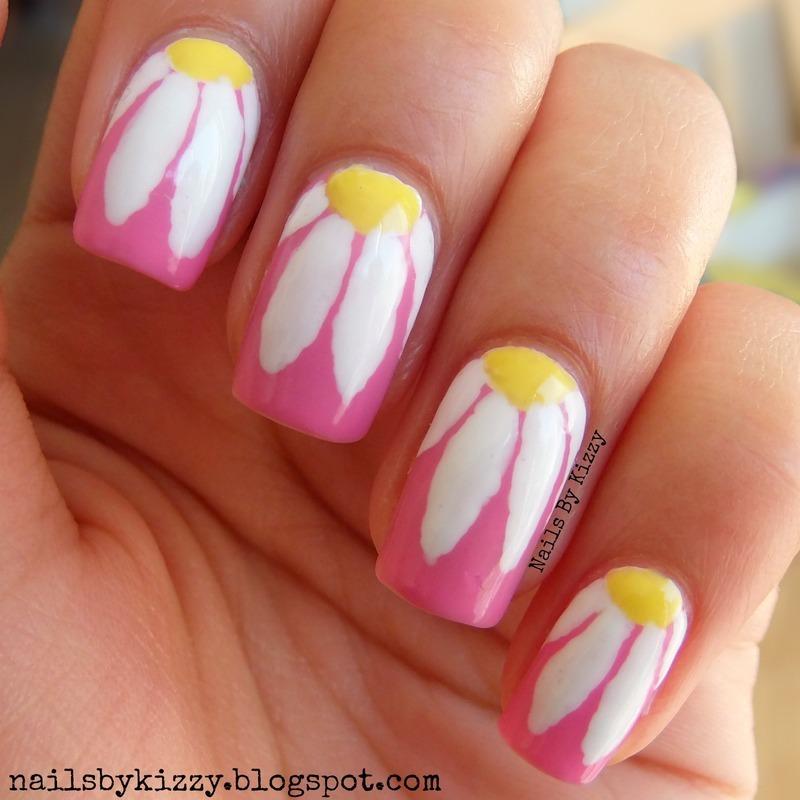 Daisies! nail art by Kizzy