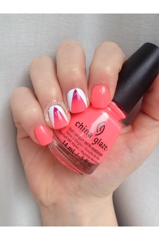 Fluorescent Gradient.  nail art by allpolishedout