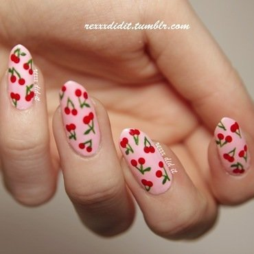 Sweet Cherry Bomb nail art by Robin