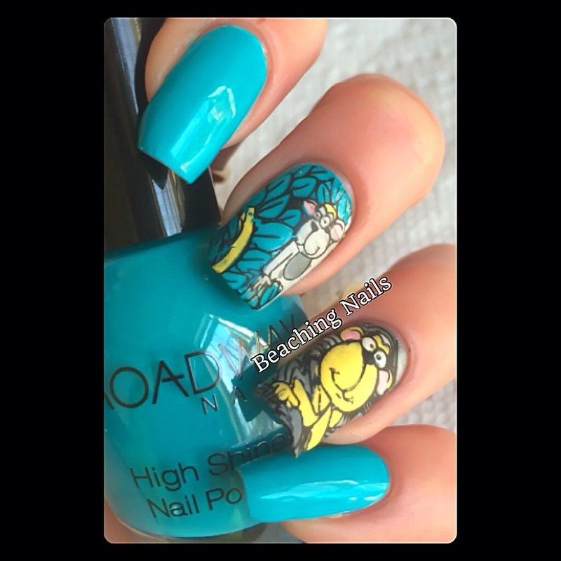 Funky Monkey  nail art by Beachingnails